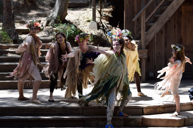 "Titania and fairies in ""A Midsummer Night's Dream"" at Will Geer's Theatricum Botanicum. (Photo by Ian Flanders)"