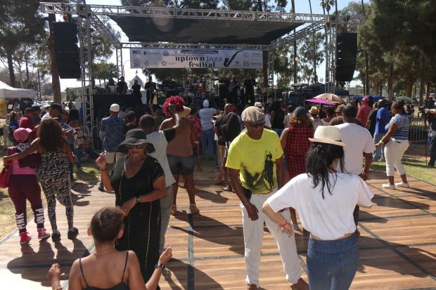 Dancers moved to the beat of R&B/Soul group DW3 at the 7th annual Uptown Jazz Festival on Saturday, June 9, 2018 at Houghton Park.(PHOTO: GERONIMO QUITORIANO)