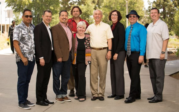 Members of the 2018-19 Cal State Fullerton Academic Senate Executive Board are, from left: Michael Perez, Amir Dabirian, Alexandro Gradilla, Jon Bruschke, Nancy Fitch, Mark Stohs, Katherine Powers, Steve Stambough and James Rodriguez. (Photo courtesy of Cal State Fullerton)