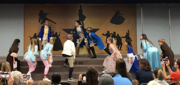 """Fifth-graders at George White Elementary School in Laguna Niguel staged """"Hamilton"""" for the students, staff and parents on June 4, 2018. (Courtesy of Mike Young)"""