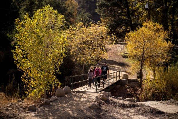 While temperatures sink below zero in the midwest and east coast, teamperatures in the high 70's brought lots of hikers out to Towsley Canyon Park in Santa Clarita, CA on New Years Day. (Photo by David Crane/Los Angeles Daily News-SCNG