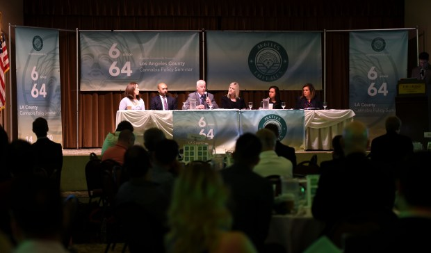 A panel answers questions during a seminar hosted by Angeles Emeralds, a nonprofit organization specifically designed for local elected officials, regulators, public safety officers, and their staff dealing with cannabis regulations. The discussion titled, 6-Months Since 64 will sought to answer the many complex questions associated with regulating cannabis from the unique perspectives of the State of California, Los Angeles County, and local cities within Los Angeles County, the group met in Long Beach on Thursday, June 14, 2018. (Photo by Brittany Murray, Press Telegram/SCNG)