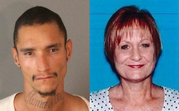 Aaron Aubrey (left) was arrested in connection to the death of his mother, Mica Maddock (right) in Riverside. (Courtesy)