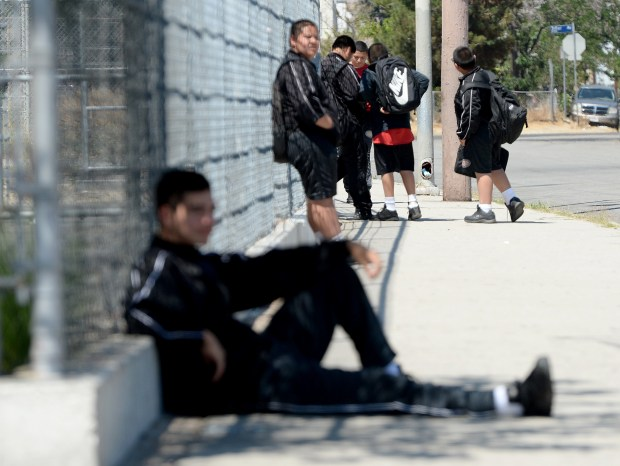 Students wait for a ride home after Summer school at the North Valley Military Institute in Sun Valley, June 26, 2018. (Photo by Dean Musgrove, Los Angeles Daily News/SCNG)