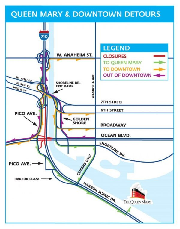 A map of the Queen Mary and downtown detours that will be set up during the July 4 weekend. Construction crews will demolish the Gerald Desmond Bridge's ramp that connects eastbound traffic from Terminal Island to the northbound 710 Freeway. That ramp will make way for a connector ramp for the Gerald Desmond's replacement bridge. (Courtesy of the Port of Long Beach)
