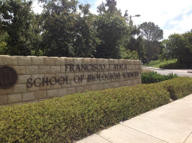 A sign bears UC Irvine professor and donor Francisco Ayala's name on Friday, June 29. University officials plan to remove it after sexual harassment allegations against Ayala were substantiated. (Photo by Alicia Robinson, The Orange County Register/SCNG)