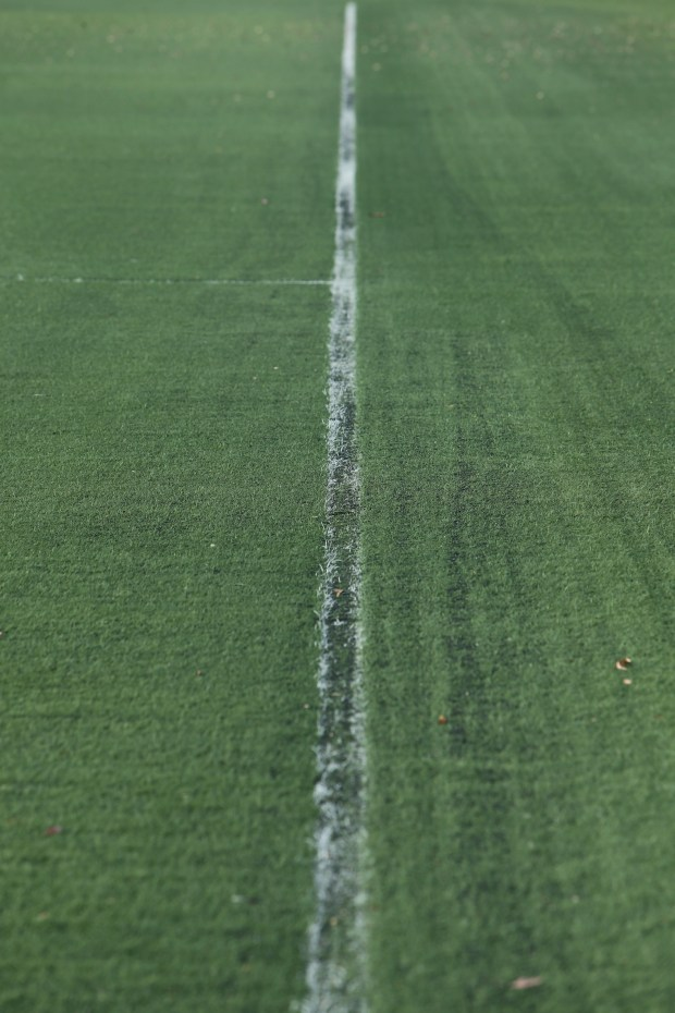 Norco College is one of many fields to have Duraspine artificial turf fields installed. The manufacturer failed to put in an anti-ultraviolet light treatment, so many of these fields are discolored and, as they break down, the grass-like fibers turn into cat hair-like fiber and the rubber mat underneath starts to show through, as does the rubber pellet put down atop the mat. Photo taken on Friday, June 15, 2018. (Stan Lim, Inland Valley Daily Bulletin/SCNG)