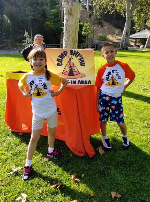Hunter Gomez (age 10) and Larissa Jewel Gomez (age 7) at what's temporarily known as The Camp in Pasadena after public pressure convinced the ownership to ditch the American Indian theme. (Photo courtesy Irene Carter-Gomez)