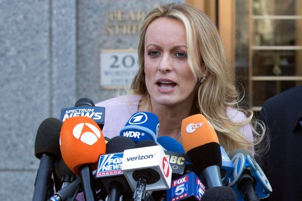Porn actress Stormy Daniels had been scheduled to meet with federal prosecutors in New York on Monday as part of their investigation into President Donald Trump's longtime personal attorney, but the meeting was abruptly canceled late Sunday after it was reported by news organizations, her attorney said. (AP Photo/Mary Altaffer, File)
