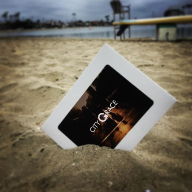 A clue from last year's City GRACE is buried in the sand in the Belmont Shore neighborhood of Long Beach. The clue leads teams to charitable tasks. Courtesy of Calvin Mingione