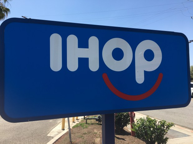 "IHOP says it will flip the ""P"" in its name to make it IHOb. (Fielding Buck, staff)"