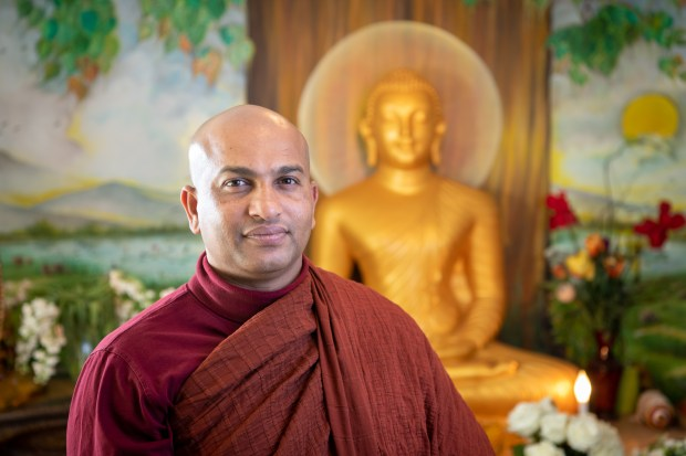 The Venerable Shantha Sobhana, a Buddhist monk who presides over the Shanthis Nikethanaya Buddhist Center in West Hills, is among the board members of the new Interfaith Solidarity Network, June 13, 2018. (Photo by Michael Owen Baker)