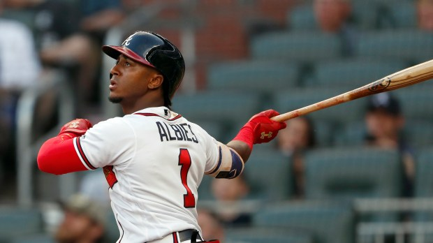 Switch-hitting rookie second baseman Ozzie Albies had 14 home runs, 35 RBIs and an .813 OPS for the Braves through Wednesday. (AP Photo/John Bazemore)