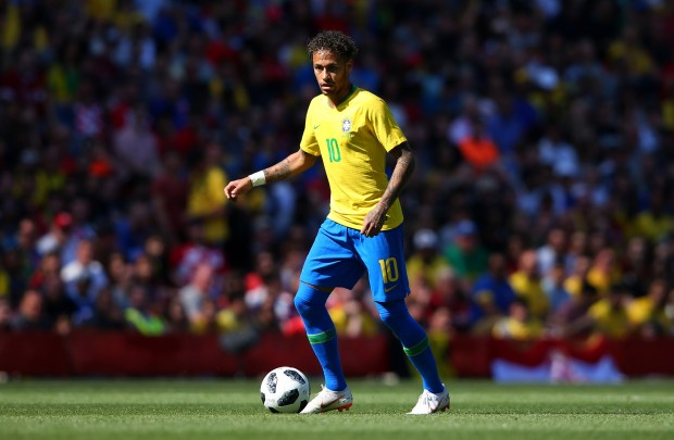 Neymar of Brazil controls the ball during the International Friendly match between Croatia and Brazil at Anfield on June 3, 2018 in Liverpool, England. (Photo by Alex Livesey/Getty Images)