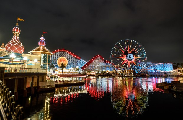 The Pixar Pier at night at Disney California Adventure Park in Anaheim, CA, on Thursday, June 21, 2018. (Photo by Jeff Gritchen, Orange County Register/SCNG)