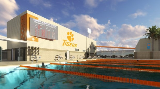 An artist's rendering of the aquatics center to be built at San Jacinto High School. (Photo courtesy of San Jacinto Unified School District)