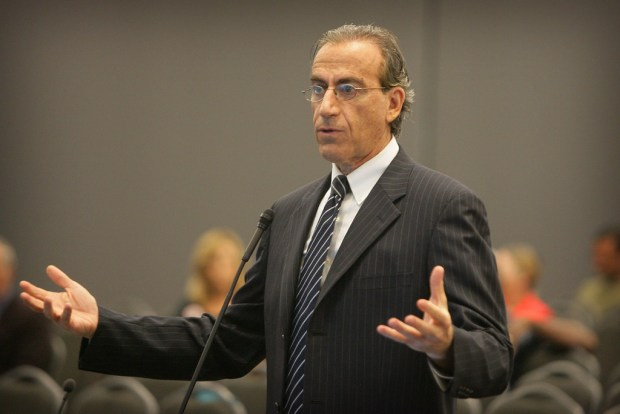 Developer Iddo Benzeevi answers questions from Moreno Valley City Council members during a meeting in which the council approved the World Logistics Center in August 2015. (File photo by David Bauman, The Press-Enterprise/SCNG)