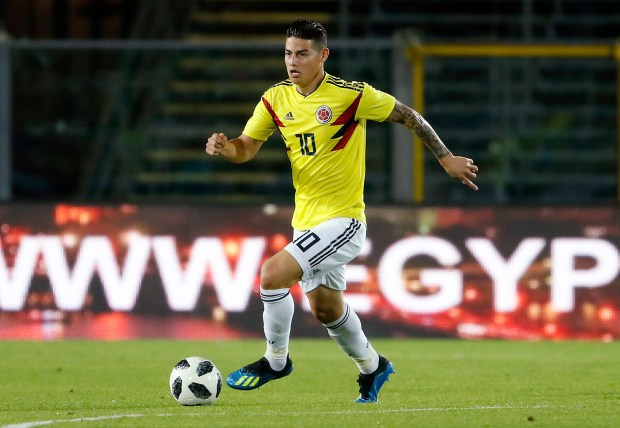 Colombia's James Rodriguez controls the ball during a friendly soccer match between Egypt and Colombia in Bergamo, Italy, Friday, June 1, 2018. (AP Photo/Antonio Calanni)