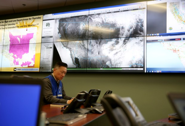 Southern California Edison gave media a behind-the-scenes look inside its 24-hour Emergency Operations and Situational Awareness Center in Irwindale, Calif. on Tuesday, June 19, 2018. Meteorologists will use the center to operate highly advanced weather modeling technology and monitor high fire risk conditions and severe weather. (Correspondent photo by Trevor Stamp)