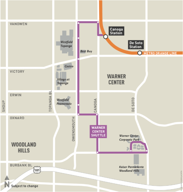Metro's new Warner Center shuttle will stop at Westfield Topanga and The Village, among other locations.