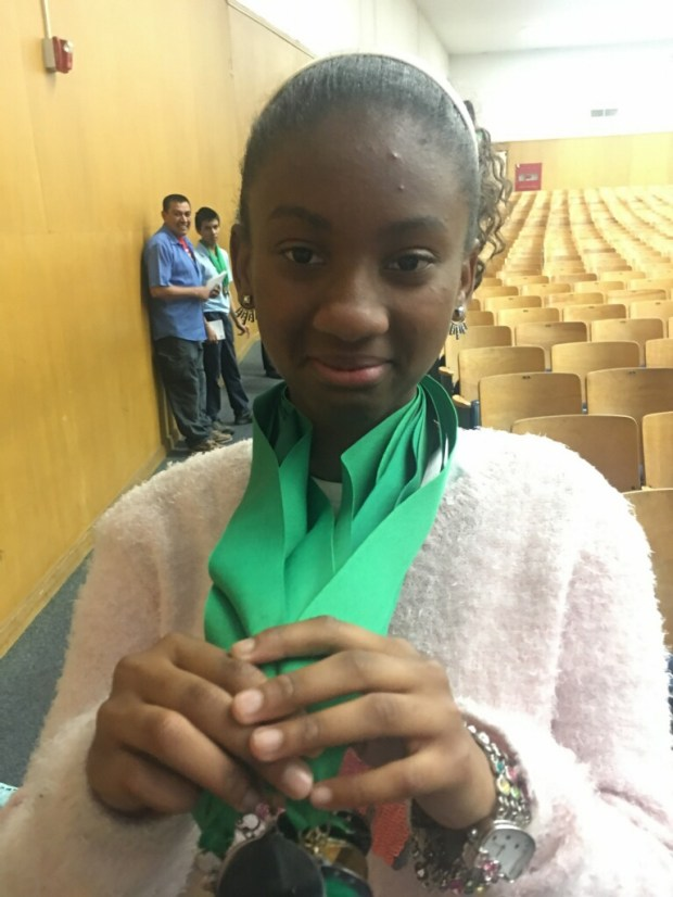 Taliyah Gist, 7th grader at student at Henry Wadswoth Longfellow Elementary School in Compton, won second place over all in the Orange County Pentathlon. She also won first place for fine arts, second place for math, second place for social studies, second place for science and fourth place for literature.