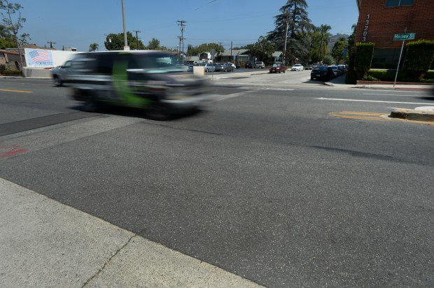 Motorists drive through the intersection of Hadley Street and Washington Avenue on Wednesday June 20, 2018. The Whittier City Council at its June 12 meeting approved the lighted crosswalk at this location and one other.(Photo by Keith Durflinger for SCNG)