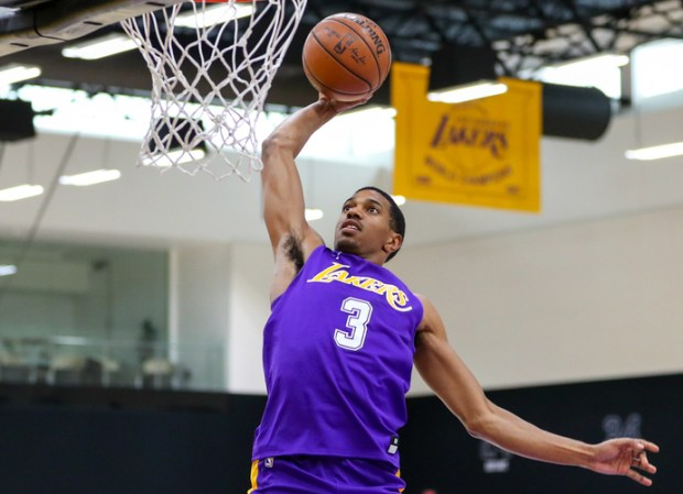 Former USC standout De'Anthony Melton was among the six players who participated in a pre-draft workout for the Lakers on Friday in El Segundo. (Photo courtesy of Ty Nowell, Los Angeles Lakers)