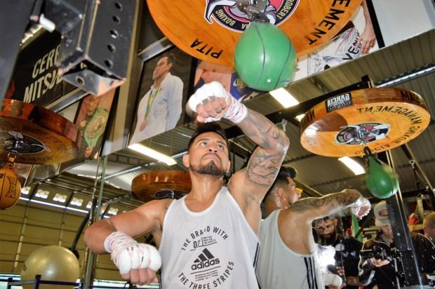 El boxeador atizando la perilla de boxeo.