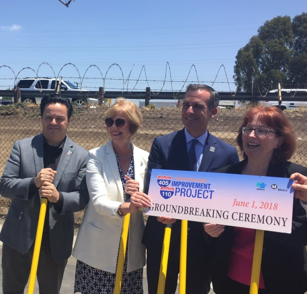 From left, Carson Mayor Al Robles, South Bay Supervisor Janice Hahn, Los Angeles Mayor Eric Garcetti and CalTrans regional director Carrie Bowen mark the start of an improvement project at the 110/405 Freeway Interchange. Photo by Nick Green, Daily Breeze