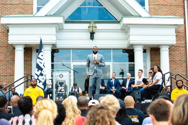 6d8a3f2351ba LeBron James addresses the crowd at the opening of the I Promise School in  Akron earlier this year. (photo courtesy of the LeBron James Family  Foundation)
