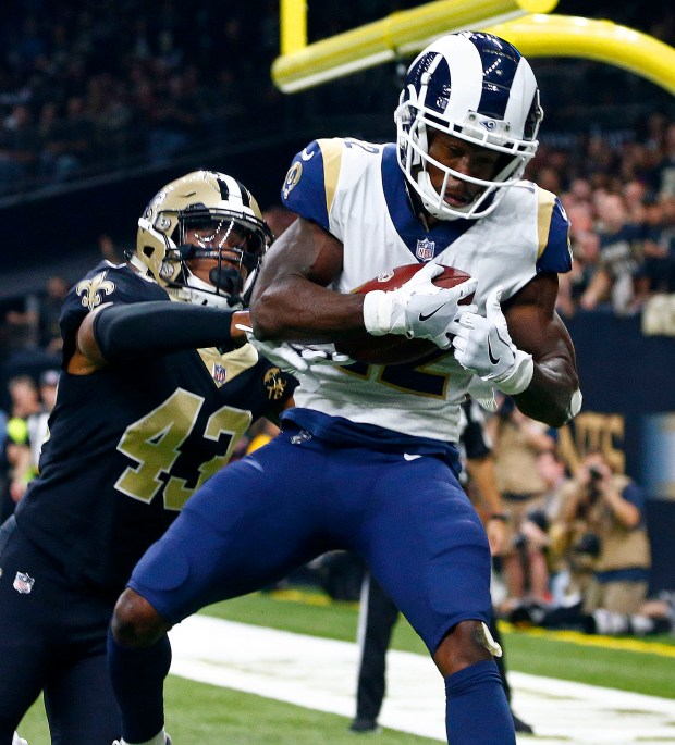 0ee984eb8 Los Angeles Rams wide receiver Brandin Cooks (12) pulls in a touchdown  reception in front of New Orleans Saints free safety Marcus Williams (43)  in the ...