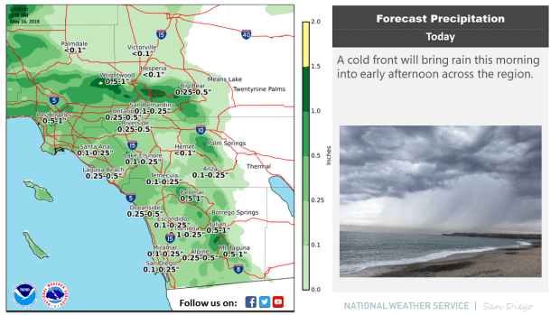 Rain is expected Thursday in the Inland Empire.