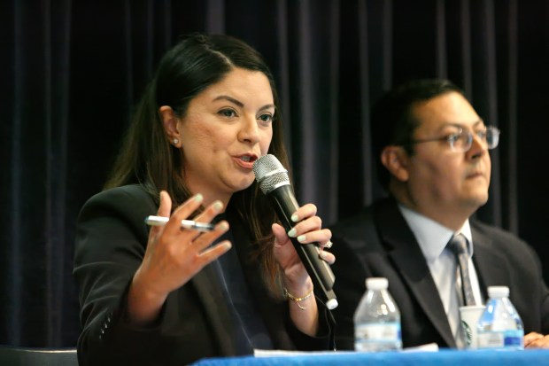 California Senate hopeful Lena Gonzalez states her case one doorstep at a time