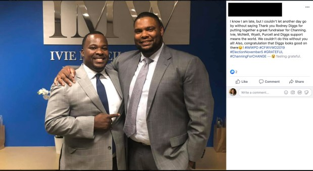 Facebook post links Channing Hawkins to Rodney Driggs