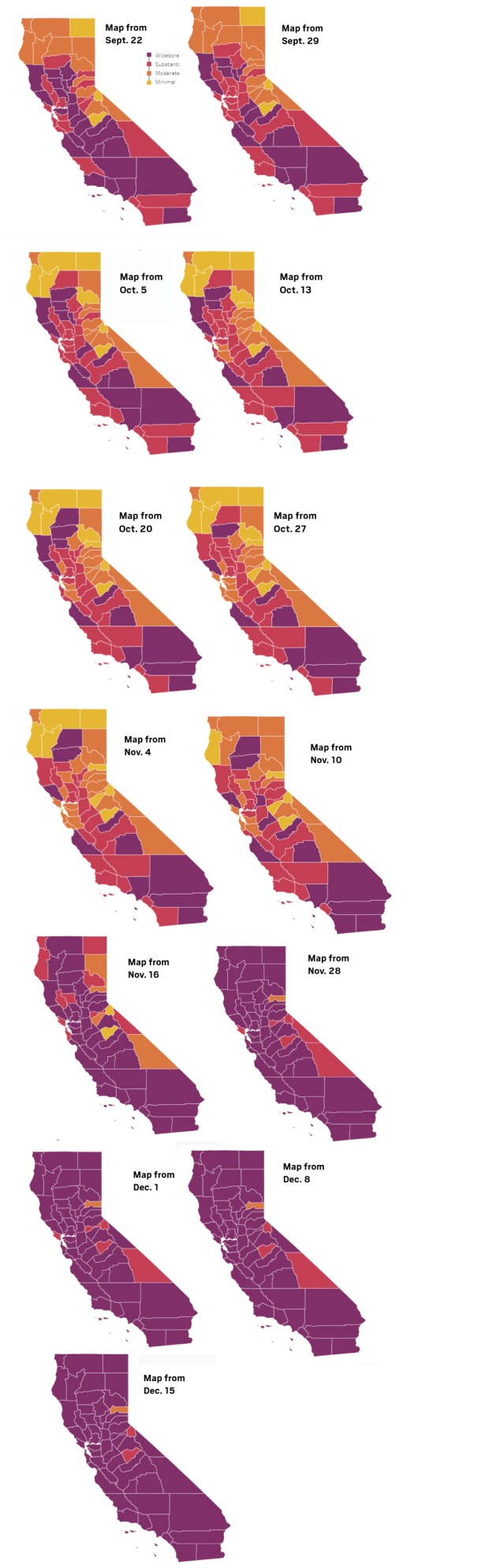 Coronavirus: Here's each county's tier assignment and where stay-at-home orders are in place on Dec. 15