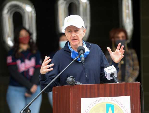 LAUSD Superintendent Austin Beutner speaks on providing over 100 million meals to the community through its Grab & Go program at Garfield High School in East Los Angeles on Monday February 1, 2021. (Photo by Keith Durflinger, Contributing Photographer)