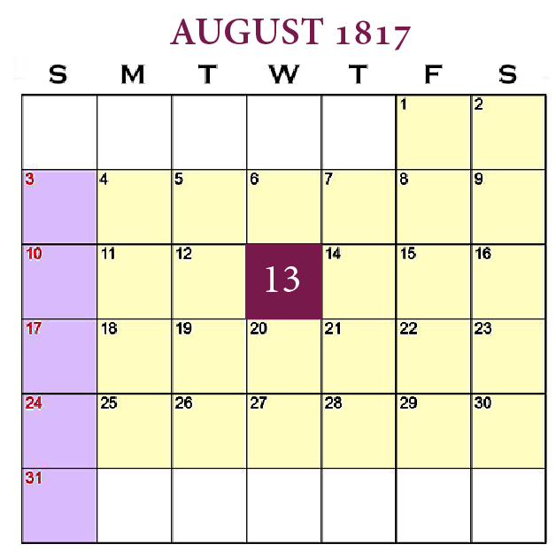 New Beginnings—Leave-Taking, August 13, 1817