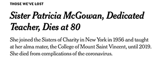 New York Times Pays Tribute to Sister Patricia McGowan