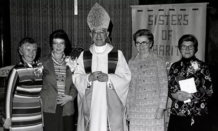 From left: Sr. Mary McCrorken, Sr. Rita Meany, Bishop Francis John Mugavero, Sr. Margaret Dowling and, Sr. Mary Kelly