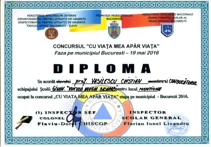 Diploma Cu viata mea apar viata 2016 - mentiune