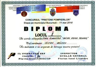 Diploma Prietenii Pompierilor 2016 - locul II