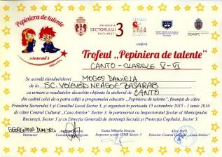 Diploma Pepiniera de talente 2016 - Trofeu canto cl. V-VI