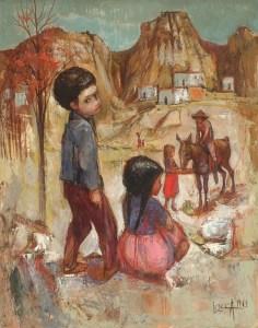 Artist: Bernard Locca Title: Children Welcoming Their Father Size: 25.5in x 31.75in Medium: Oil on Canvas