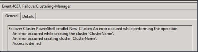 Cluster Validation Create Cluster access is denied