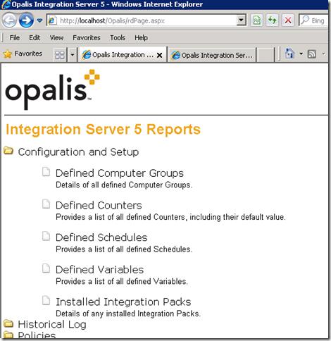 Opalis reporting on IIS7.5