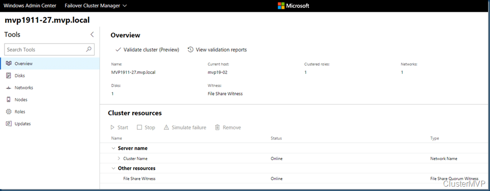 cluster management in Windows Admin Center