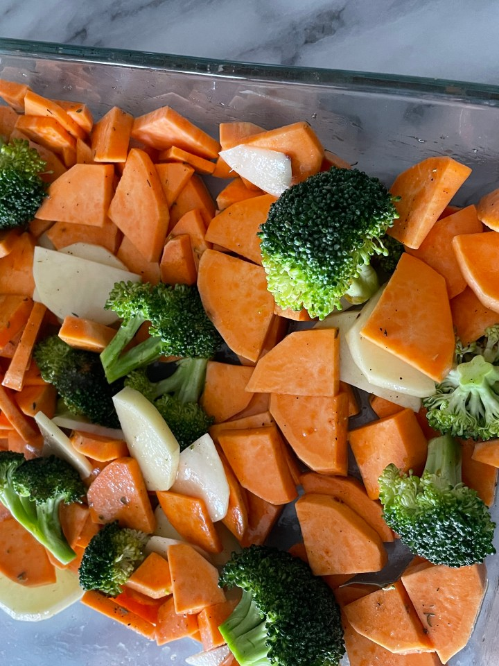 vegetables ready to be roasted