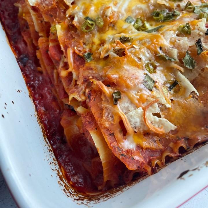 crispy edges are my favorite part of this Tex Mex lasagna