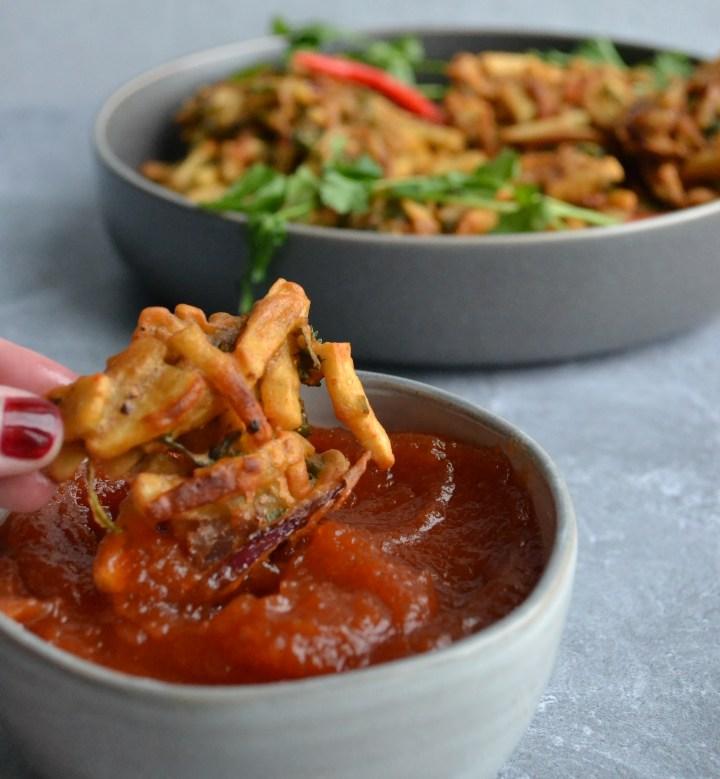 homemade ketchup and crispy veggie pakora