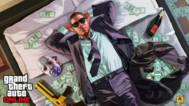 Un personaggio si trova in un letto pieno di soldi
